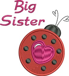 Big Sister Lady Bug embroidery design