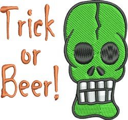 Trick Or Beer Skull embroidery design