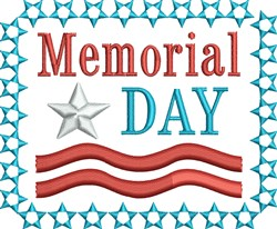Memorial Day Star Banner embroidery design