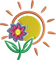 Sun And Flower embroidery design