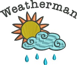 Weatherman Sun And Cloud embroidery design