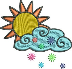 Sun Cloud With Snow embroidery design
