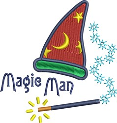 Magic Man Wizard Hat embroidery design