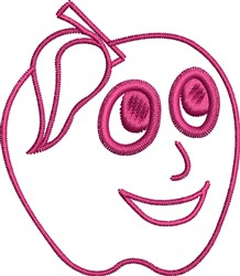 Apple Face Outline embroidery design