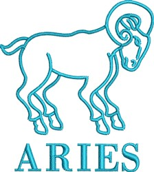 Aries Outline embroidery design