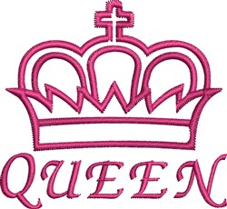 Queen Crown Outline embroidery design