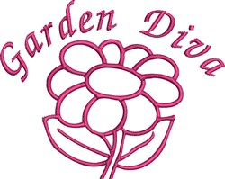 Garden Diva Outline embroidery design