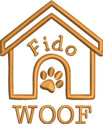 Woof Doghouse embroidery design