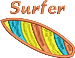 Surfer embroidery design