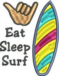 Eat Sleep Surf embroidery design