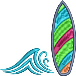 Surfboard and Waves embroidery design