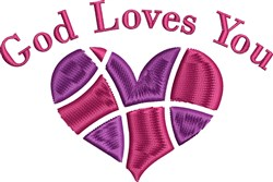 God Loves You embroidery design