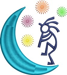 Kokopeli Moon embroidery design