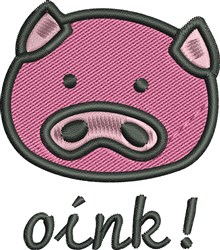 Oink Pig embroidery design