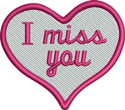 Miss You embroidery design