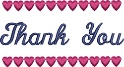 Thank You Hearts embroidery design