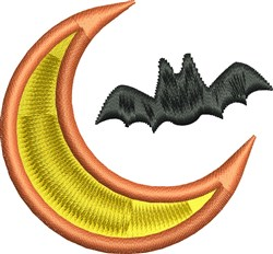 Bat and Moon embroidery design