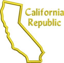 California Republic Outline embroidery design