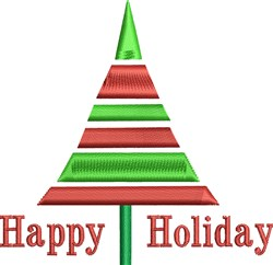Happy Holiday Tree embroidery design
