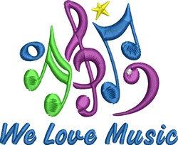 We Love Music embroidery design