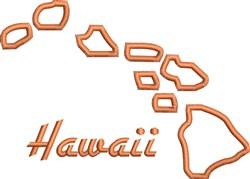 Hawaii Outline embroidery design
