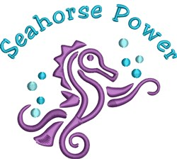 Seahorse Power embroidery design