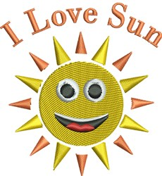 I Love Sun embroidery design
