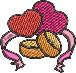 Hearts & Rings embroidery design