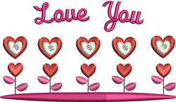 Love You embroidery design