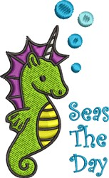 Seas the Day Baby Seahorse embroidery design