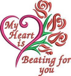 My Heart Is Beating For You embroidery design
