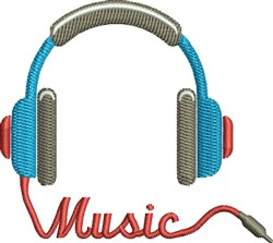 Music Headset embroidery design