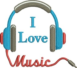 I Love Music Headset embroidery design