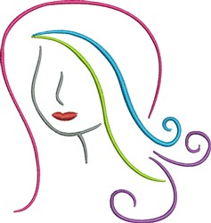Girl Head Outline embroidery design