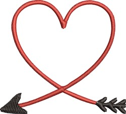 Heart Arrow embroidery design