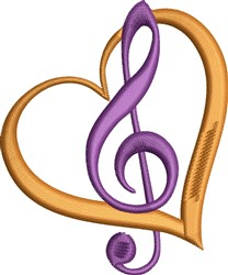 Treble Clef Heart embroidery design