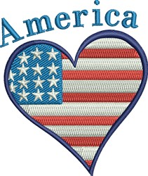 America Heart embroidery design