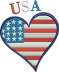 USA Heart embroidery design