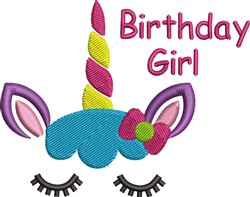 Birthday Girl Unicorn embroidery design