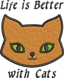 Better With Cats embroidery design