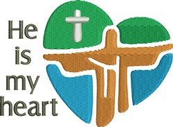 He Is My Heart Christ embroidery design