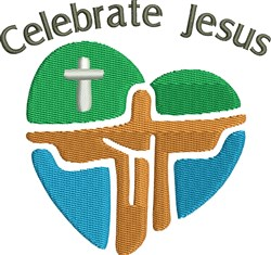 Celebrate Jesus Christ Heart embroidery design