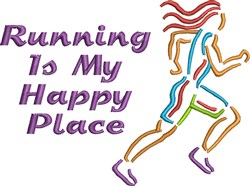 Running Is My Happy Place embroidery design