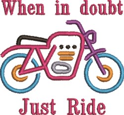 Motorcycle Just Ride embroidery design