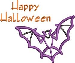 Happy Halloween Bat embroidery design