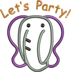 Lets Party Elephant embroidery design