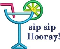 Summer Drink Sip Sip Hooray embroidery design