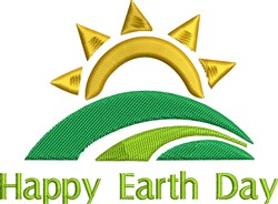 Happy Earth Day Sunset embroidery design