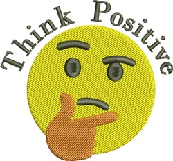 Think Positive Emoticon Face embroidery design