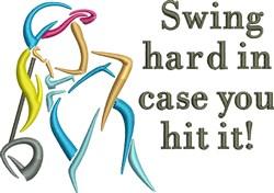 Swing Hard Woman Golfer embroidery design
